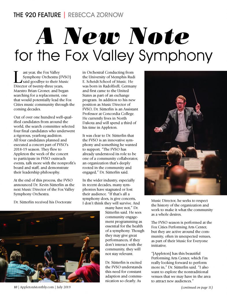Fox Valley Symphony in Appleton Monthly